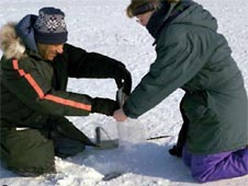 Educators take snow samples