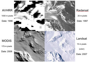 The enhanced resolution of the new mosaic map is shown in comparison to three previous Antarctic mosaics.