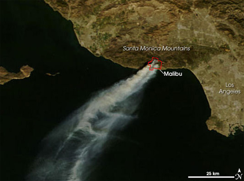 Satellite image of smoke plumes over Southern California