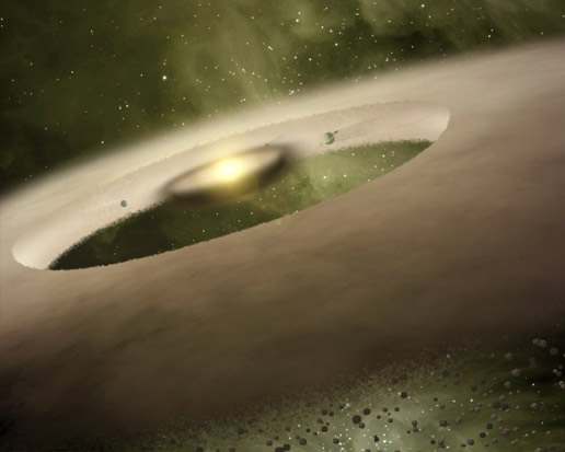 This is an artist's rendition of the one-million-year-old star system called UX Tau A