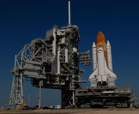 Space shuttle Atlantis at Launch Pad 39A