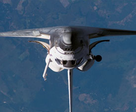 View of the space shuttle Atlantis during a rendezvous pitch maneuver