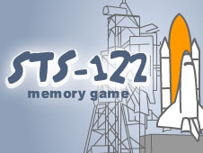 A cartoon space shuttle sits beside the words STS-122 memory game