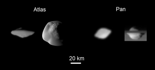 Saturn's moons Atlas and Pan (2 views of each)