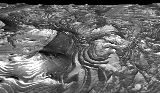 perspective view of a scene within Mars' Candor Chasma
