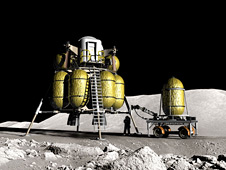 Artist's rendering of future technologies in use on the lunar surface.