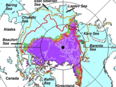 Map of Arctic superimposed with extent of sea ice cover