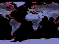 Earth image showing danger to coastlines if sea level rises