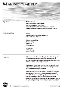 The first page of the Making Time Fly activity