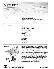 The first page of the Sled Kite activity