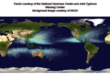 Tracks of hurricanes around the world over time.
