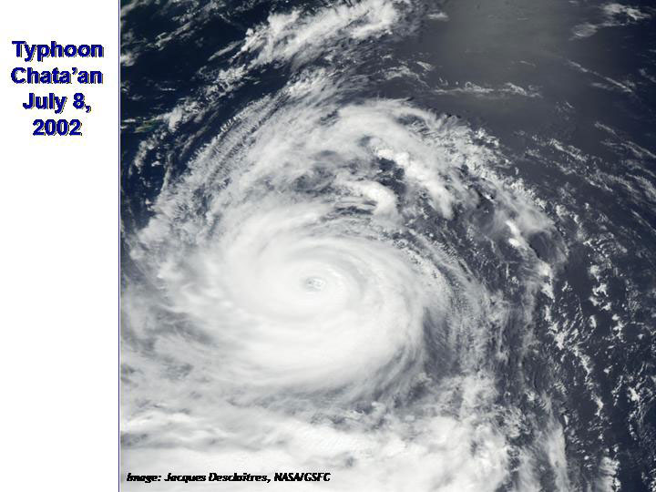 typhoon chataan Figure 2 is a visible satellite image of typhoon chataan while it was over guam figure 3 is a radar image of chataan over the island after passing over guam, chataan continued on a northwest track.