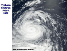 This is a satellite image of Typhoon Chataan on July 8, 2002 from NASA's MODIS instrument.
