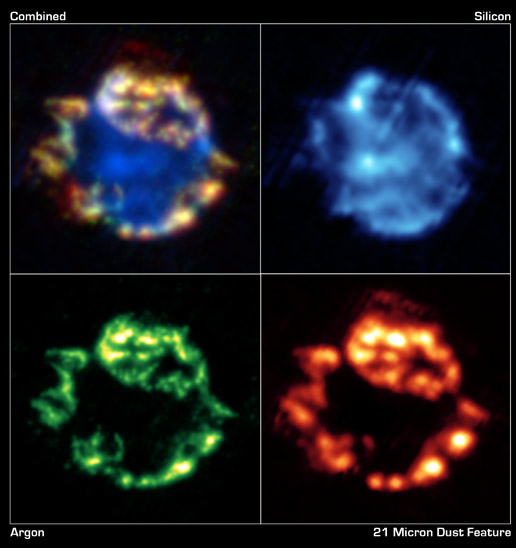 different Spitzer  views of the blown-out remains of a stellar explosion