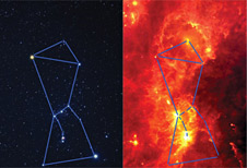 Visible light (left) and infrared (right) images of the constellation Orion.