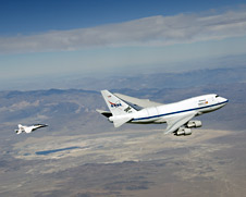 NASA's SOFIA infrared observatory and F/A-18 safety chase.