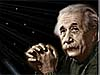 A picture of Albert Einstein is shown in front of a cosmic background