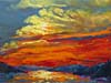 A painting of wispy clouds in a red, orange and blue sky