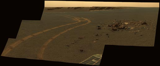 Tracks made by Mars Exploration Rover Opportunity
