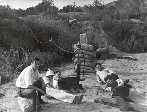 researchers took a break during their rocket engine experiments in 1936