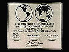 Plaque left on the moon by the Apollo 11 crew