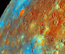 Mariner 10 image of Mercury showing the different compositions that make up the planet