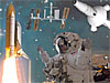 A collage of images including the ISS, space shuttle and an astronaut in a spacesuit