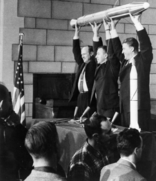 The three men responsible for Explorer 1, America's first Earth satellite, from left to right are William H. Pickering, James A. van Allen and Wernher von Braun.