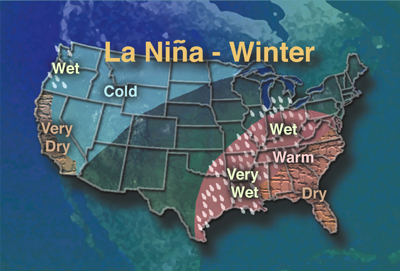 NASA NASA Observes La Niña This Little Girl Makes A Big - Map of weather patterns in the us