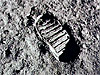 Close-up view of astronaut's footprint in lunar soil
