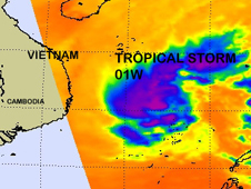 Satellite image of Tropical Storm 01W