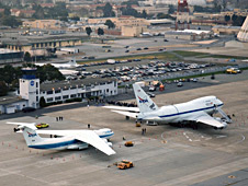 Kuiper Airborne Observatory and SOFIA on the ramp at NASA Ames.