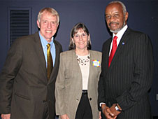 Steve Knighton, Roger Hathaway and Jeanne Finstein pose for a photograph