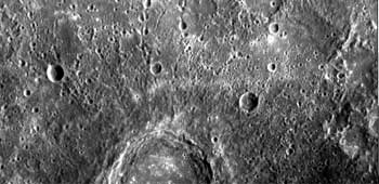 Close up of Mercury's craters by Messenger