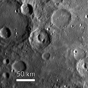 Image of the phone crater on Mercury as seen by Messenger