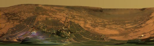 NASA's Mars Exploration Rover Opportunity examined rocks inside an alcove called