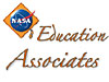 The NASA logo in front of a graduation cap next to the words Education Associates