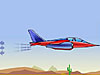 A drawing of a jet flying above a desert, with arrows pointing away from the jet