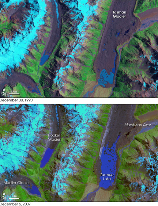Satellite image of the Tasman Glacier