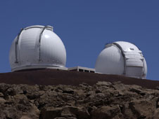View of the Keck telescopes at dusk