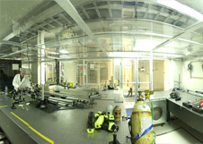 A fisheye view of the combining lab in the basement of the Keck Observatory