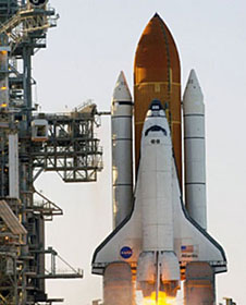 The shuttle on the launch pad