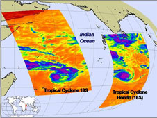 AIRS captures images of two of the three tropical cyclones in the Indian Ocean.