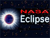 A solar eclipse next to the words NASA Eclipse