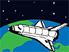 Drawing of a space shuttle flying above Earth