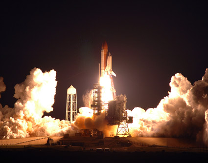 Launch of space shuttle Endeavour on mission STS-123
