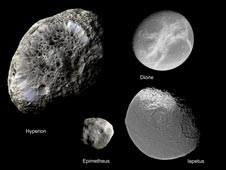 collage of several of Saturn's moons