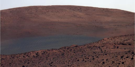 NASA's Exploration Rover Spirit has this view northward from the position at the north edge of the 'Home Plate' plateau
