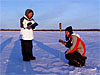 Students measure snow depth in Shageluk, Alaska