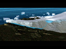 Still from animation showing Greenland's ice loss.